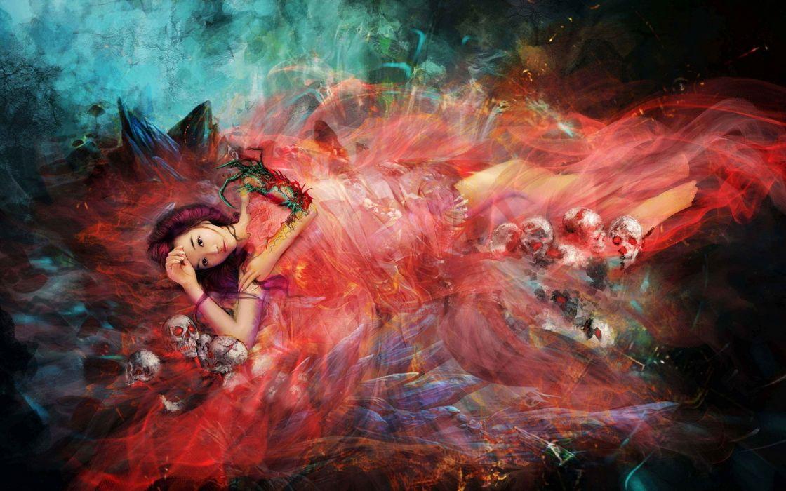 dragon mouth warrior weapon cg digital art asian oriental dark skulls fantasy art women wallpaper