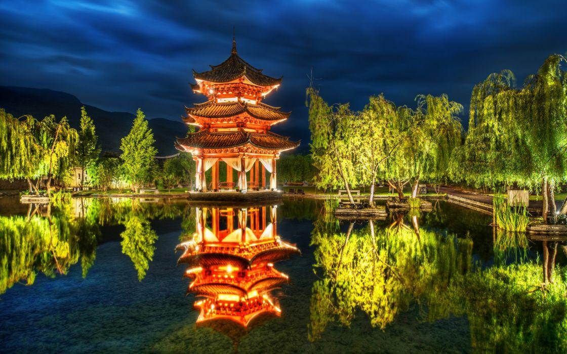 Lijiang China park pagoda pond trees reflection wallpaper