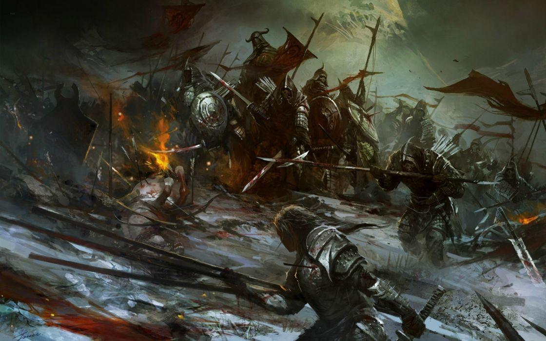 fantasy art horses battle warriors war knights armor weapons sword spear army wallpaper