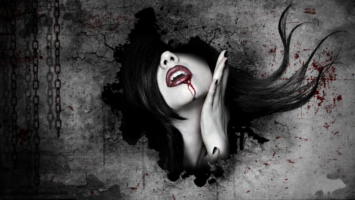 dark horror fantasy art gothic women vampires blood face wallpaper