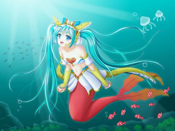 Cardfight!! Vanguard Girls fantasy mermaids underwater fishes jellyfish art girl hearts wallpaper