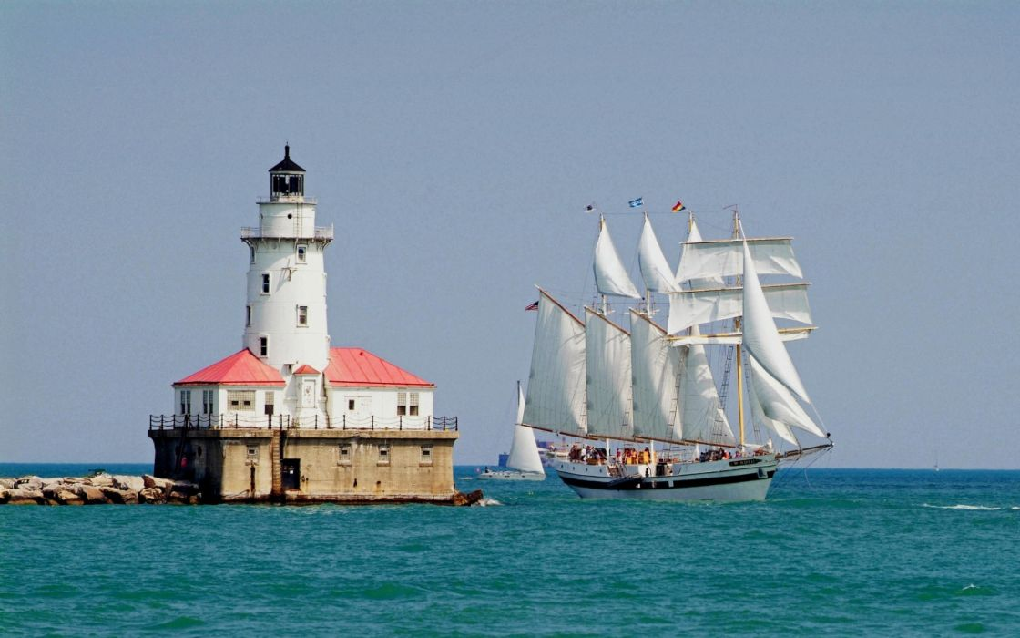 lighthouses ships schooner sail ocean sea jetty wallpaper