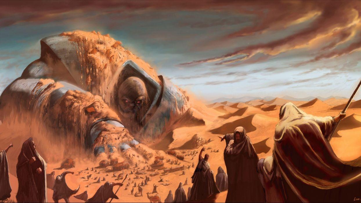 Livio Ramondelli fantasy art monster battle weapons spear desert sand wallpaper