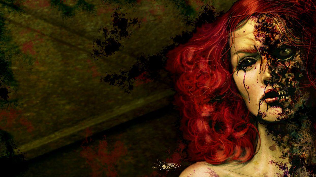 dark art horror gothic decay ruin face eyes demon gore macabre women redhead evil wallpaper