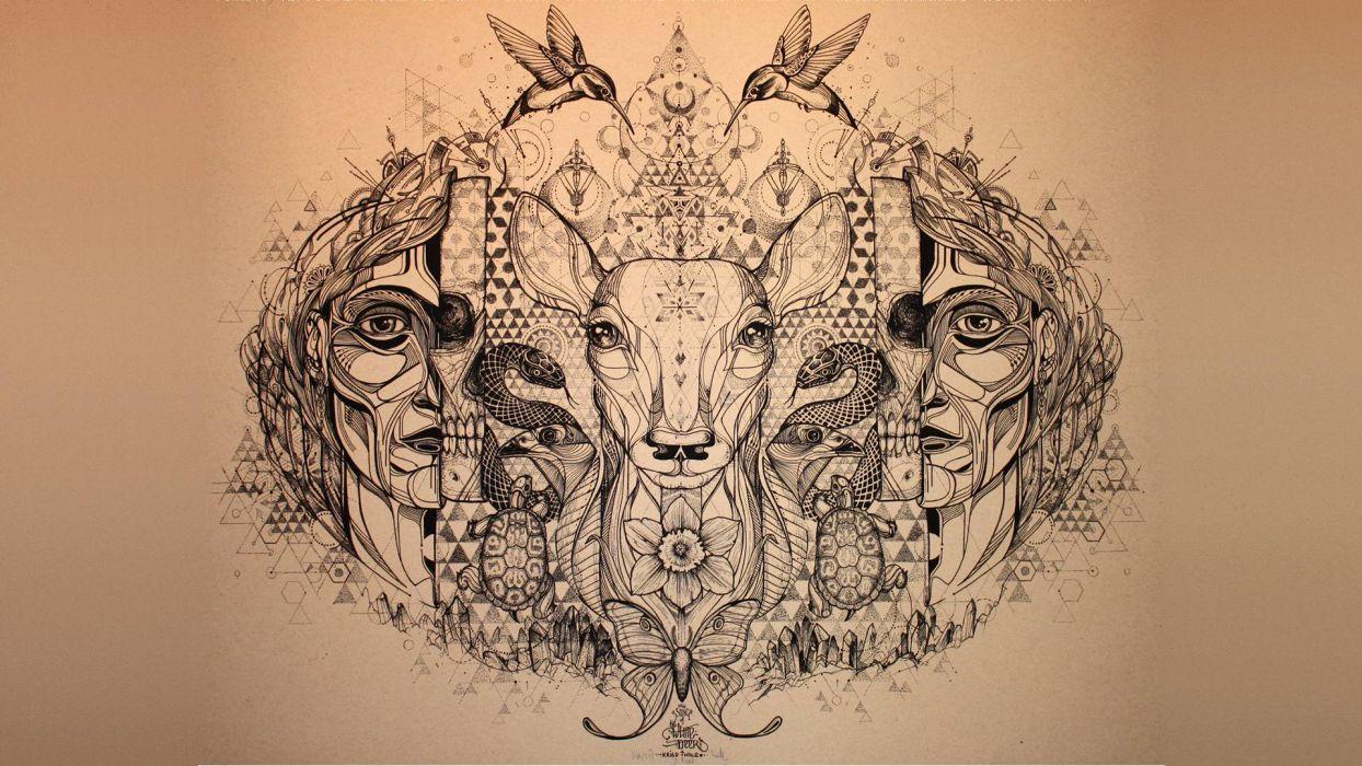 Deer Hummingbird Abstract Snake Butterfly fantasy art psychedelic wallpaper