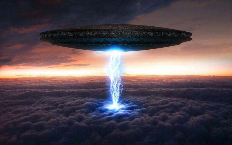 sci fi aliens ufo spaceship spacecraft sky clouds art invasion sunset wallpaper