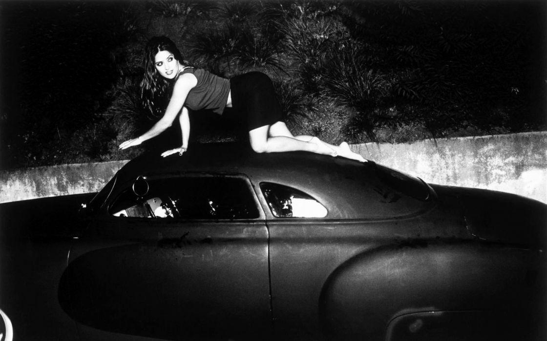 salma hayek 1920x1200 women black and white salma hayek actress monochrome girls women brunettes sexy babes celeb retro tuning classic cars wallpaper