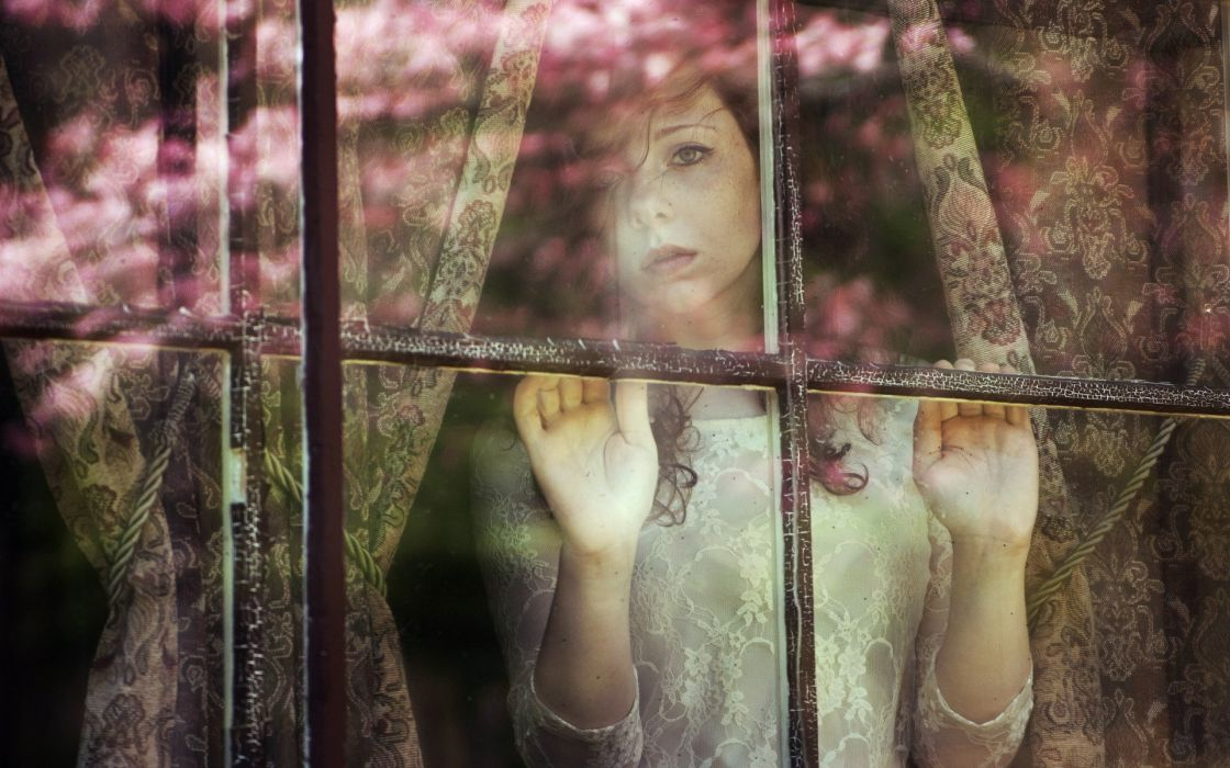 mood sad sorrow waiting window glass women models alone redheads lace expression face eyes pov wallpaper