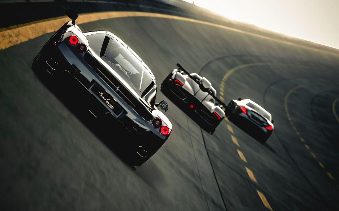 Ferrari Enzo Pagani Zonda R Zonda McLaren SLR Mercedes CG supercars roads track racing wallpaper