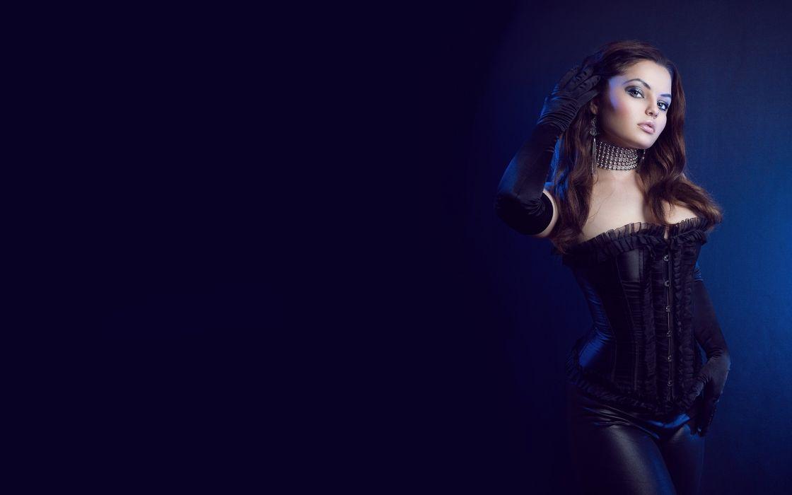 latex women model gothic brunette sexy babes wallpaper
