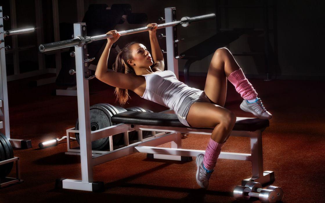 sports fitness weights women model brunettes sexy babes wallpaper