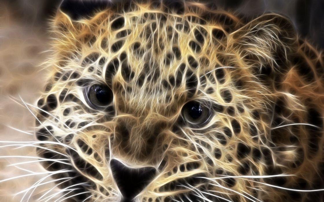 leopard fractals cg art wallpaper