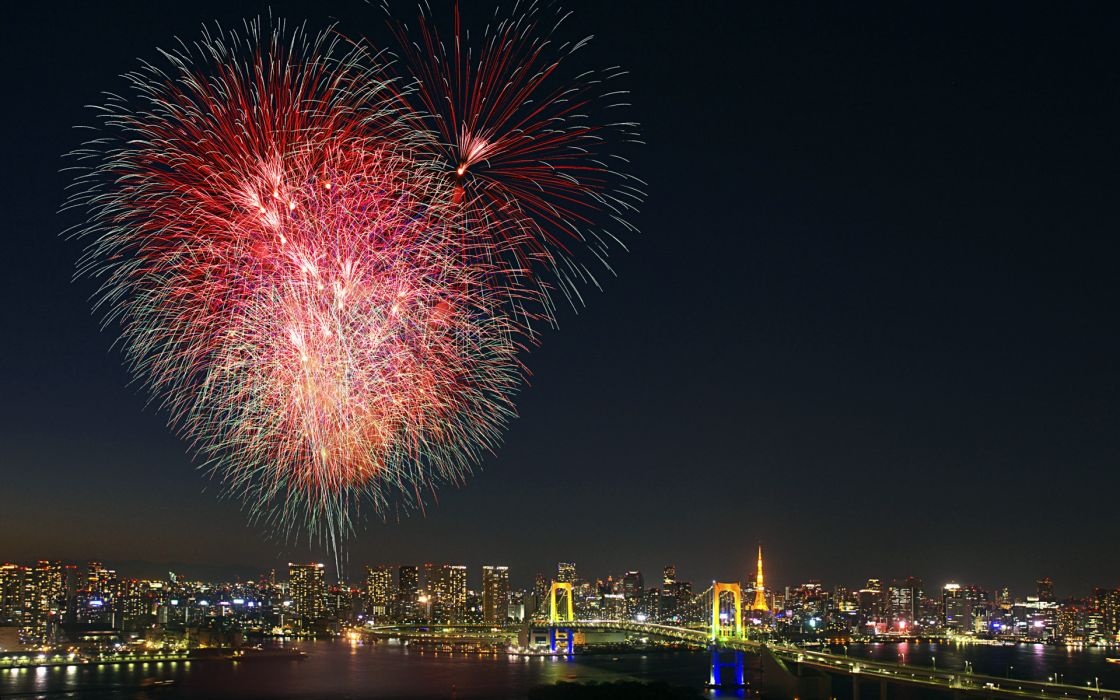 Fireworks Tokyo Japan cities hdr night wallpaper