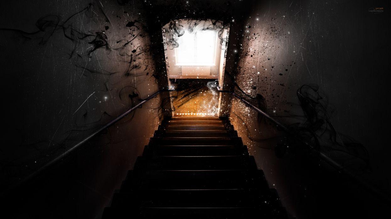 dark horror ghost manip cg digital art evil door stairs wallpaper