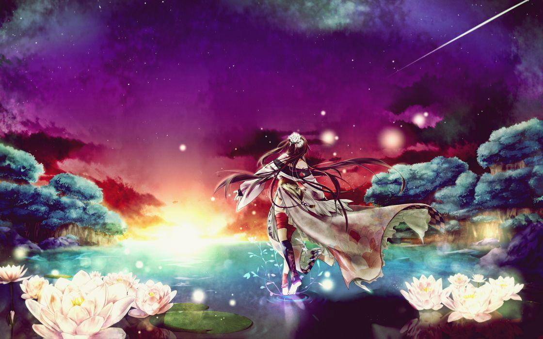 Brunettes Tattoos Sunset Flowers Stars Forest Long Hair Kimono Barefoot Scenic Anime Girls Space Lotus Flower Keishi 2560A wallpaper