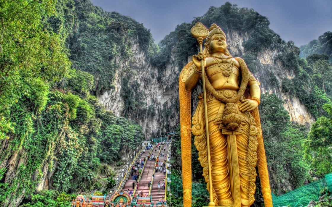 Lord Murugan Penang Kuala Lumpu Malaysia Jungle Statues HDR Photography 2560A wallpaper