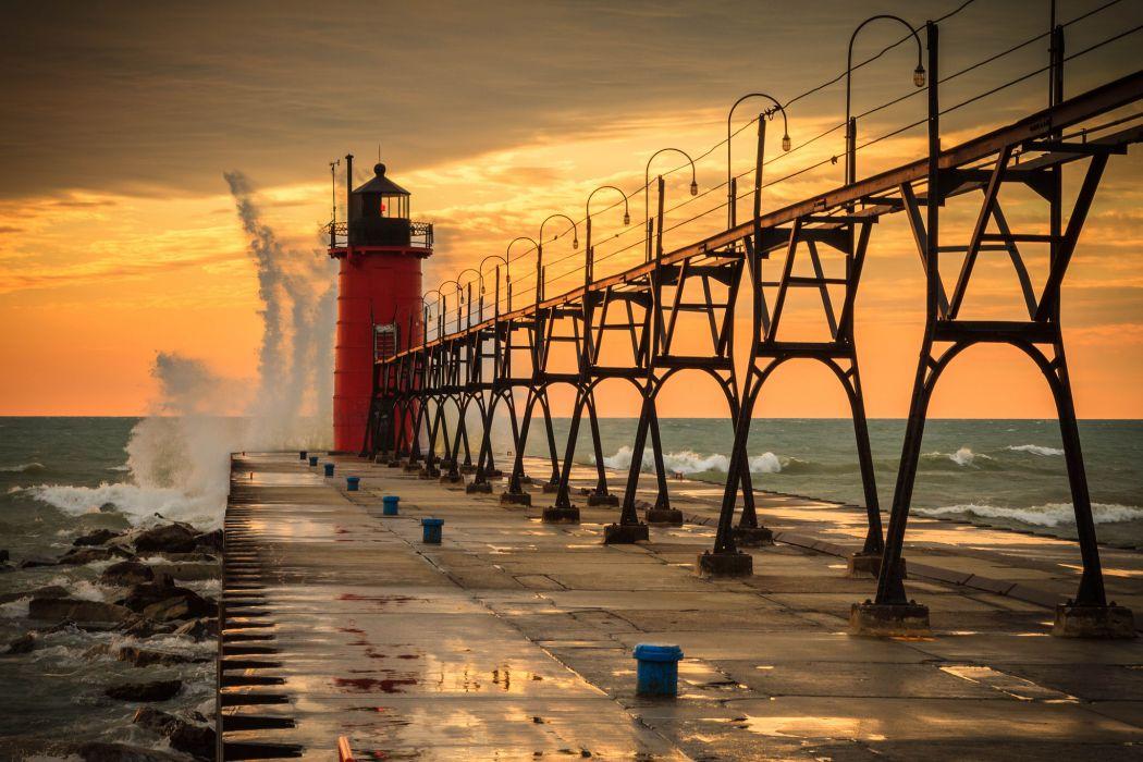 lighthouse ocean sea nature waves sunset sky clouds wallpaper