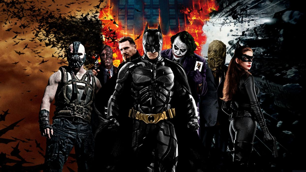 Batman Movies The Joker Catwoman Two-Face Bane Batman The Dark Knight Rises Raaeus Al Ghul Scarecrow comics video games wallpaper