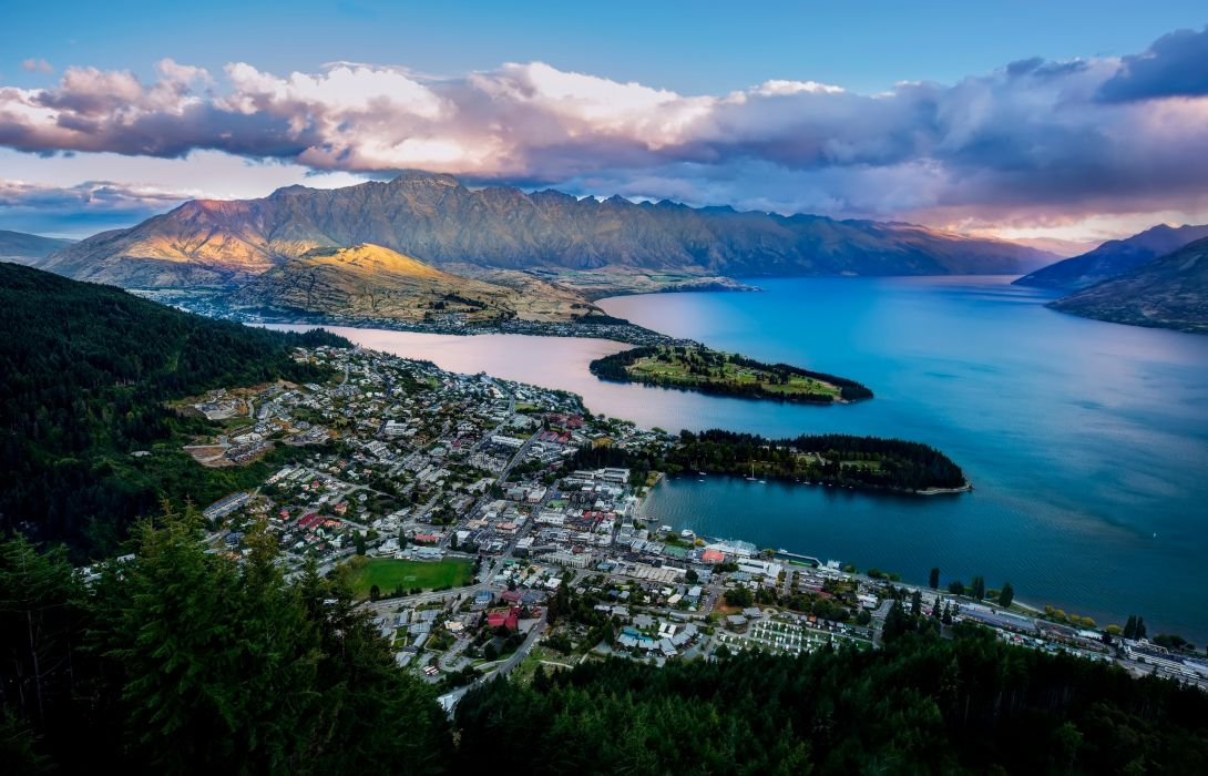 new zealand Queenstown New Zealand Lake Wakatipu bay mountains panorama landscapes water sky clouds wallpaper