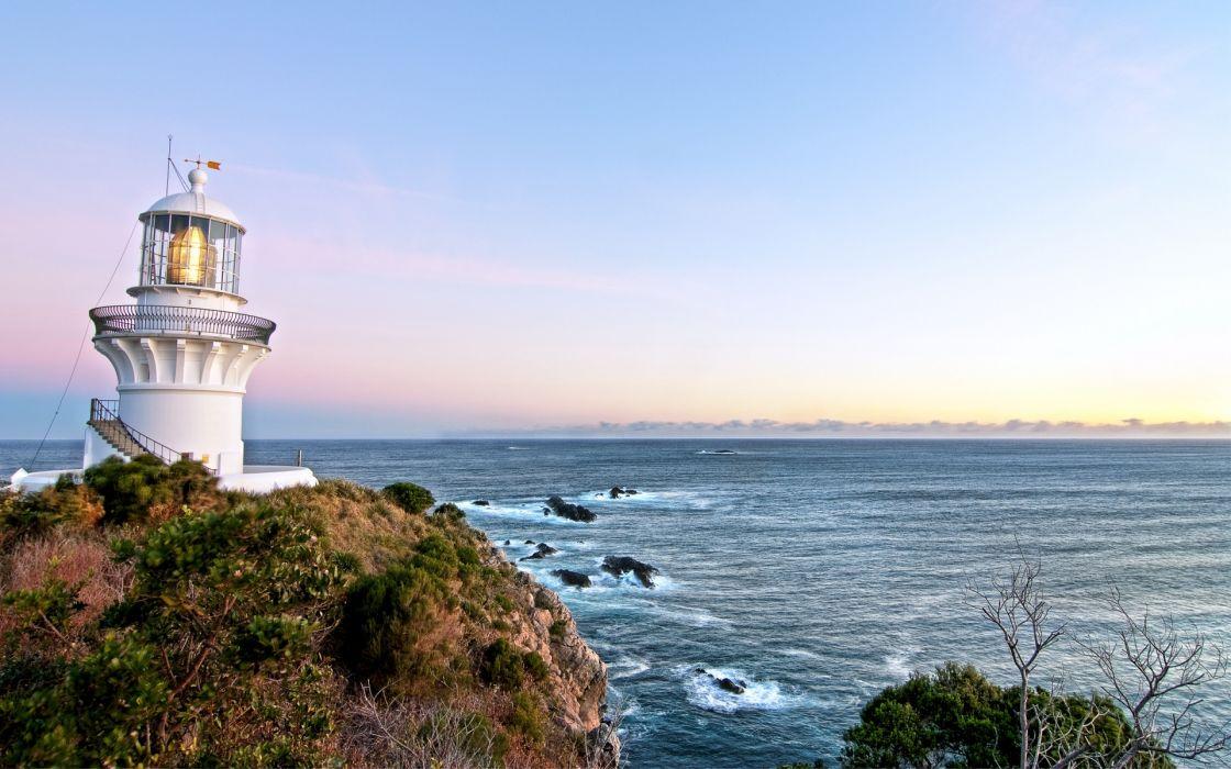 lighthouse ocean sea sky sunset sunrise wallpaper