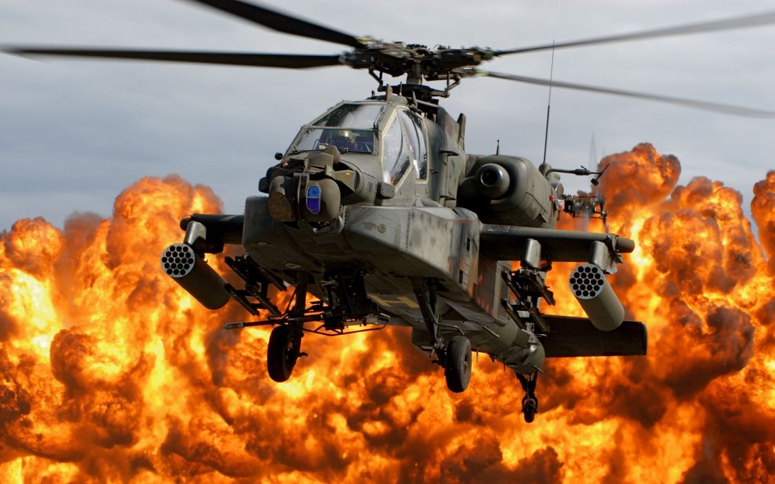ah-64d apache helicopter blades cabin explosion fire military weapons wallpaper