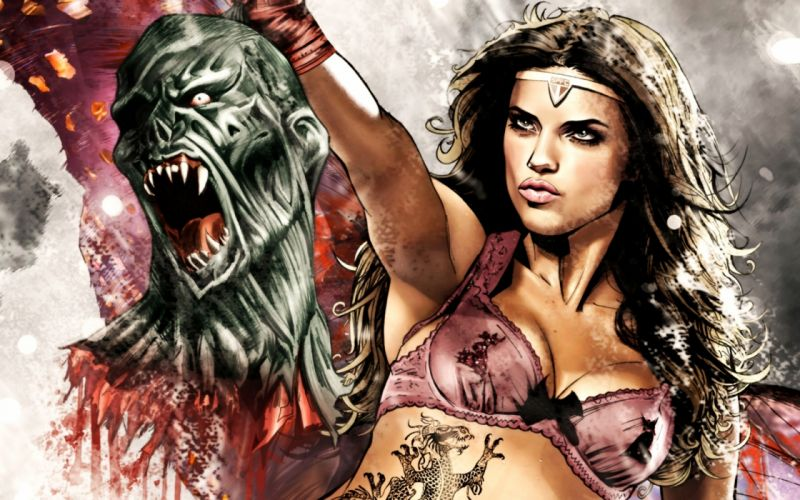 Adriana Lima Superhero fantasy art dark horror evil monster women models brunettes sexy babes blood wallpaper