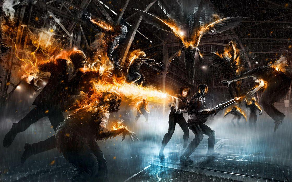Vitaly S_ Alexius fantasy art sci fi dark horror men women warriors monsters zombies fire weapons wallpaper