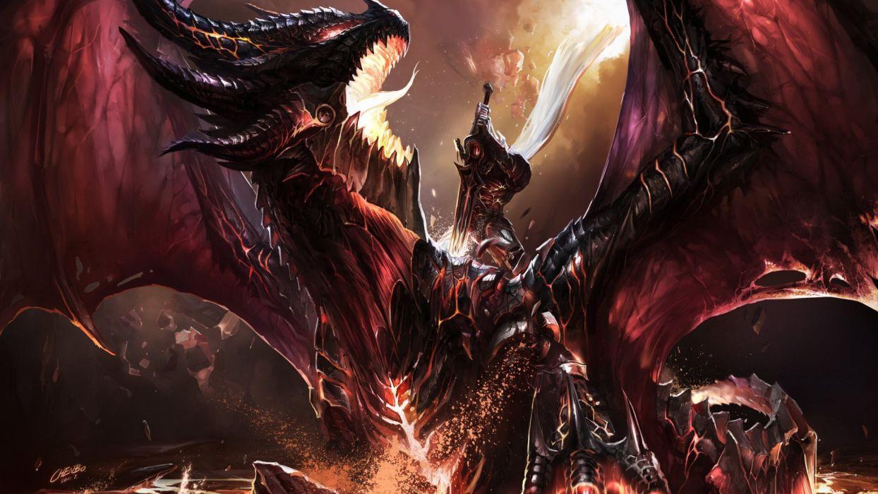 World Of Warcraft fantasy art dragons warriors battle wallpaper