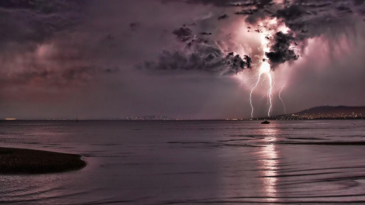 lightning storm rain clouds electric water reflection wallpaper