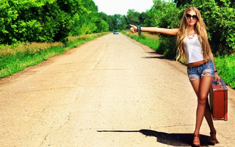 women fashion models blondes roads sexy babes travel glasses wallpaper