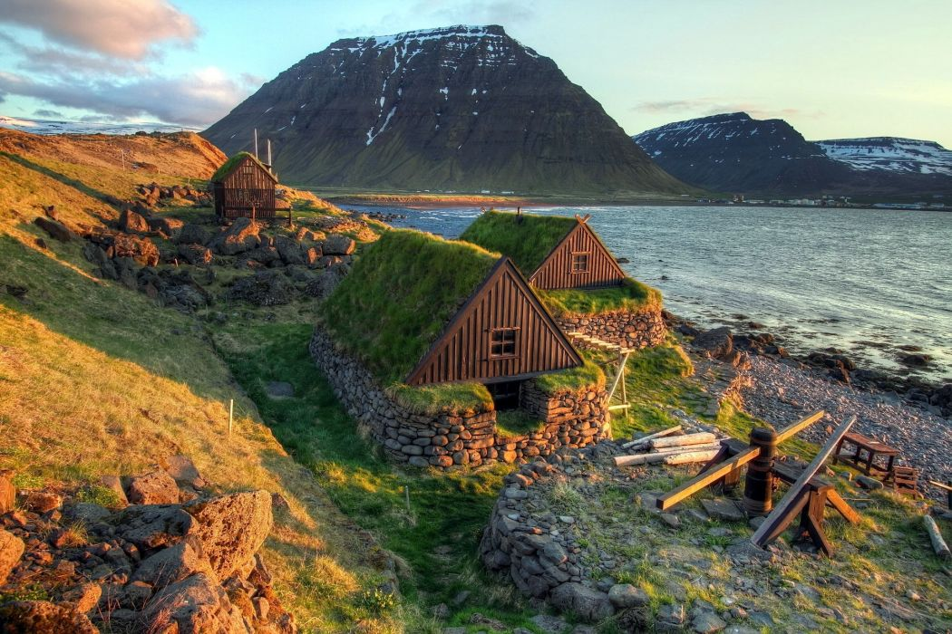 nature landscapes fjord harbor bay mountains houses buildings wallpaper