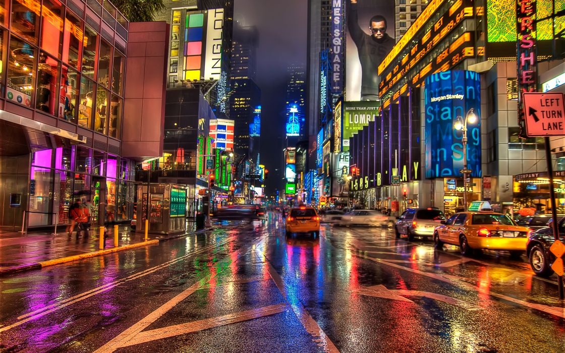 new york hdr streets taxi cars traffic architecture buildings sidewalk people crowds storm rain drops wallpaper