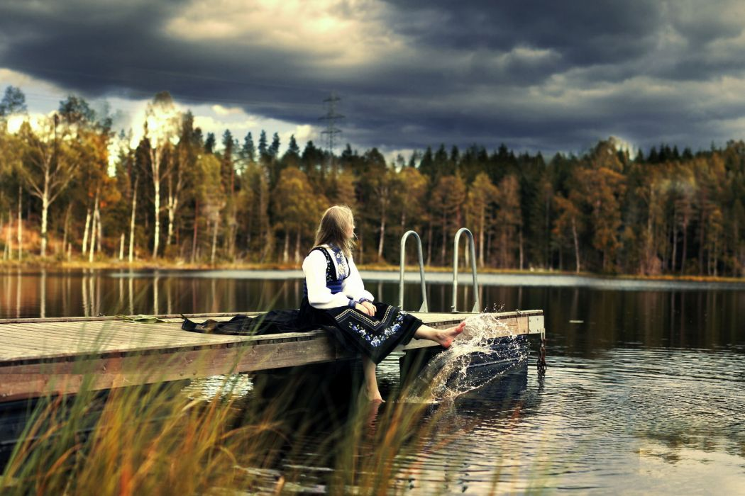 mood alone waiting women model blondes babes nature lakes dock pier trees forest shore sky clouds wallpaper