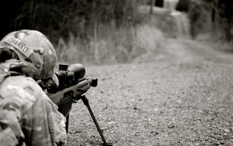 military sniper warriors soldiers rifle guns scope camo roads black white wallpaper