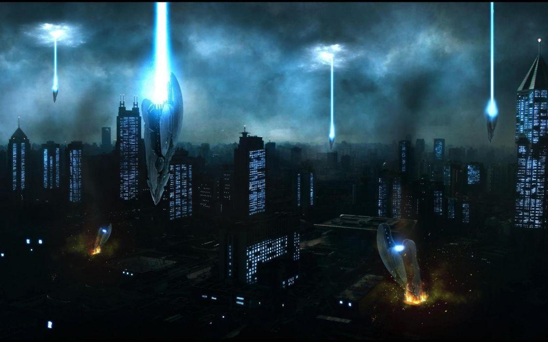 sci fi dark horror alien invasion apocalyptic spaceships spacecrafts art cities buildings wallpaper