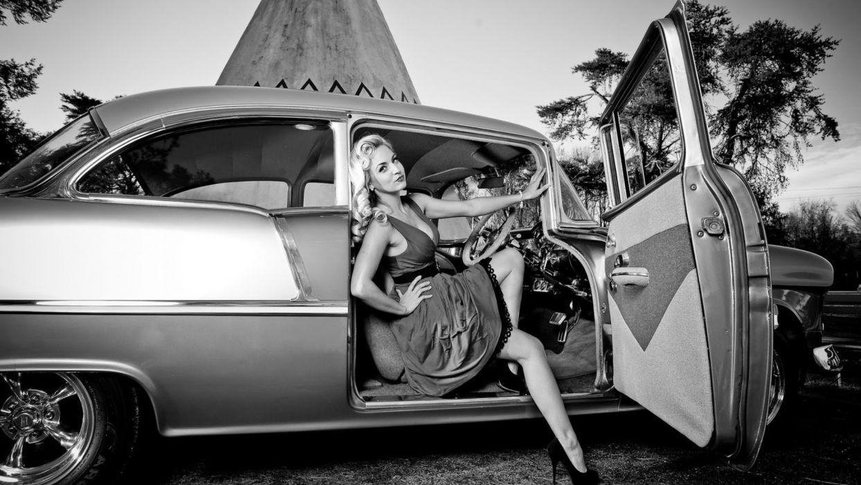 monochrome black white women model retro blondes sexy babes chevrolet classic cars hot rod wallpaper