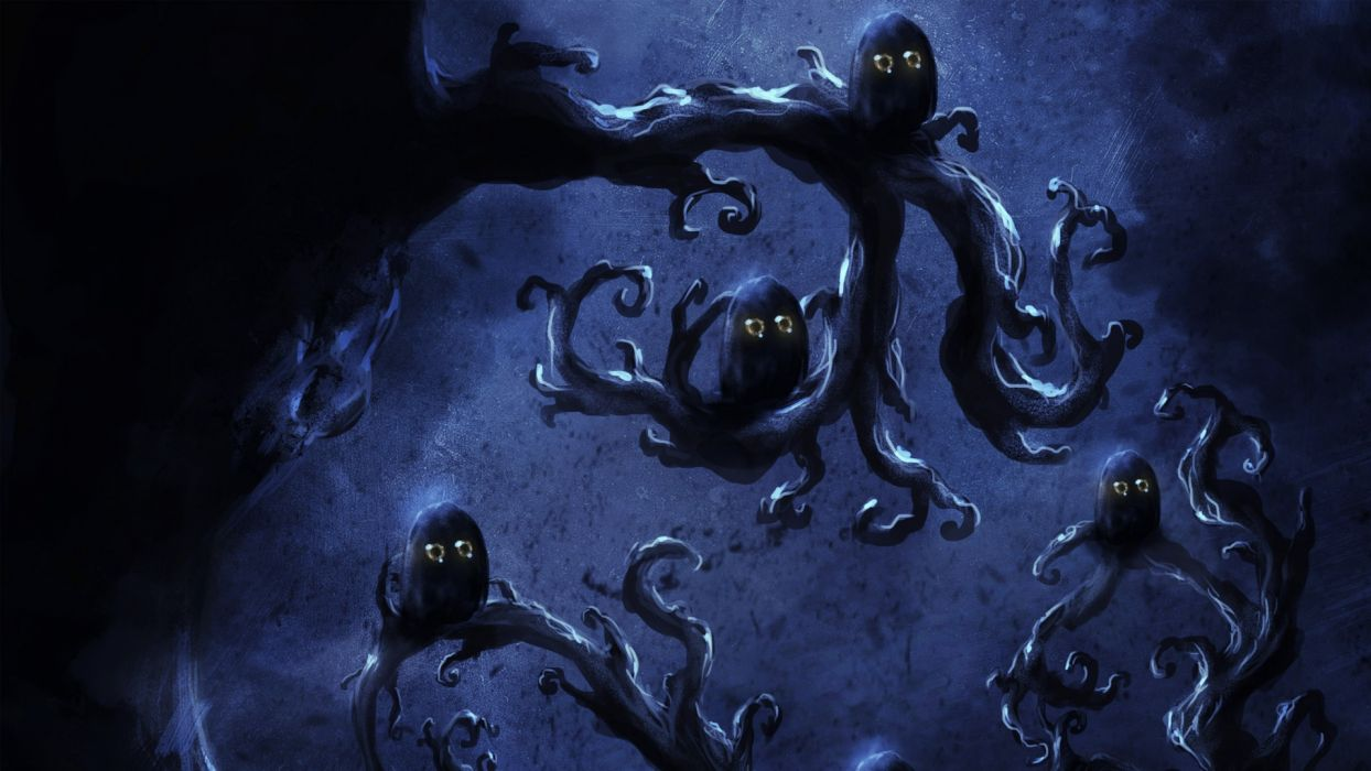 dark horror halloween creatures fantasy art wallpaper
