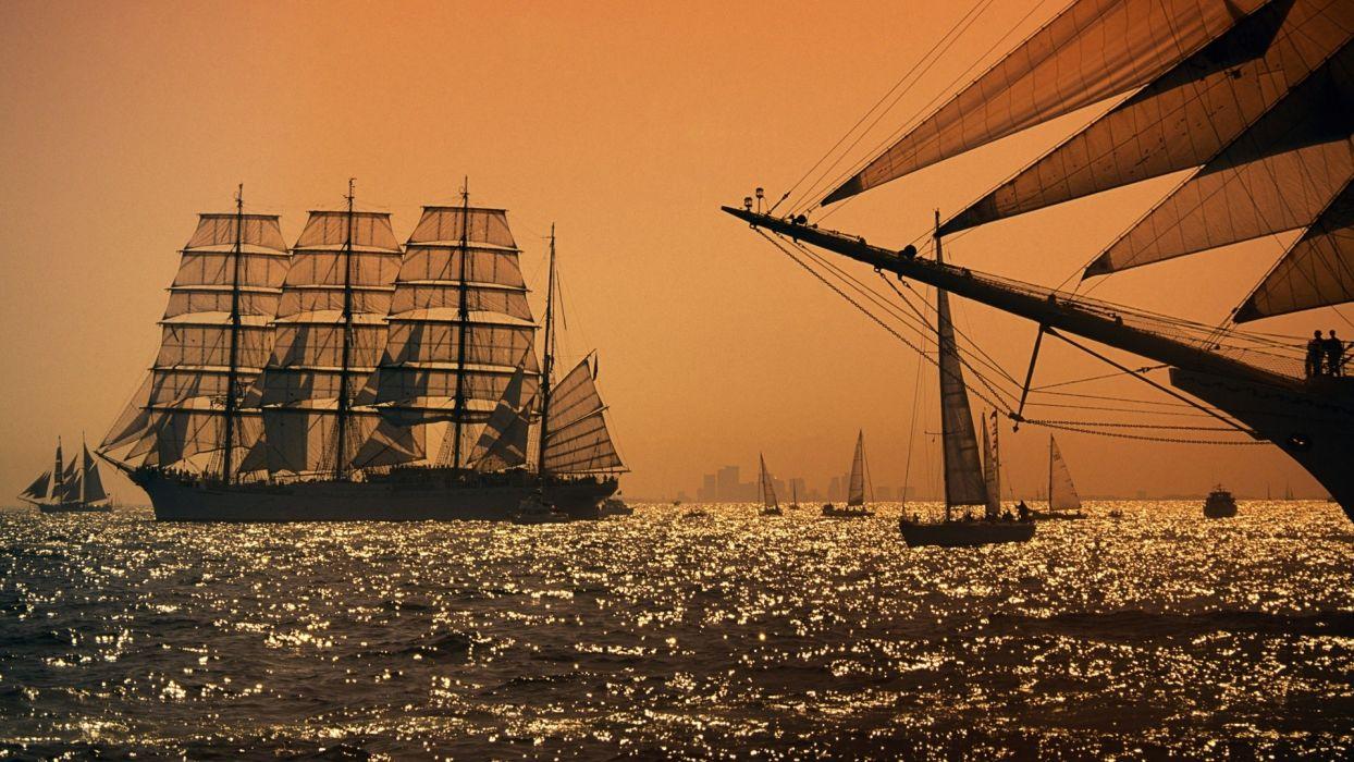 ships schooner sail ocean wallpaper