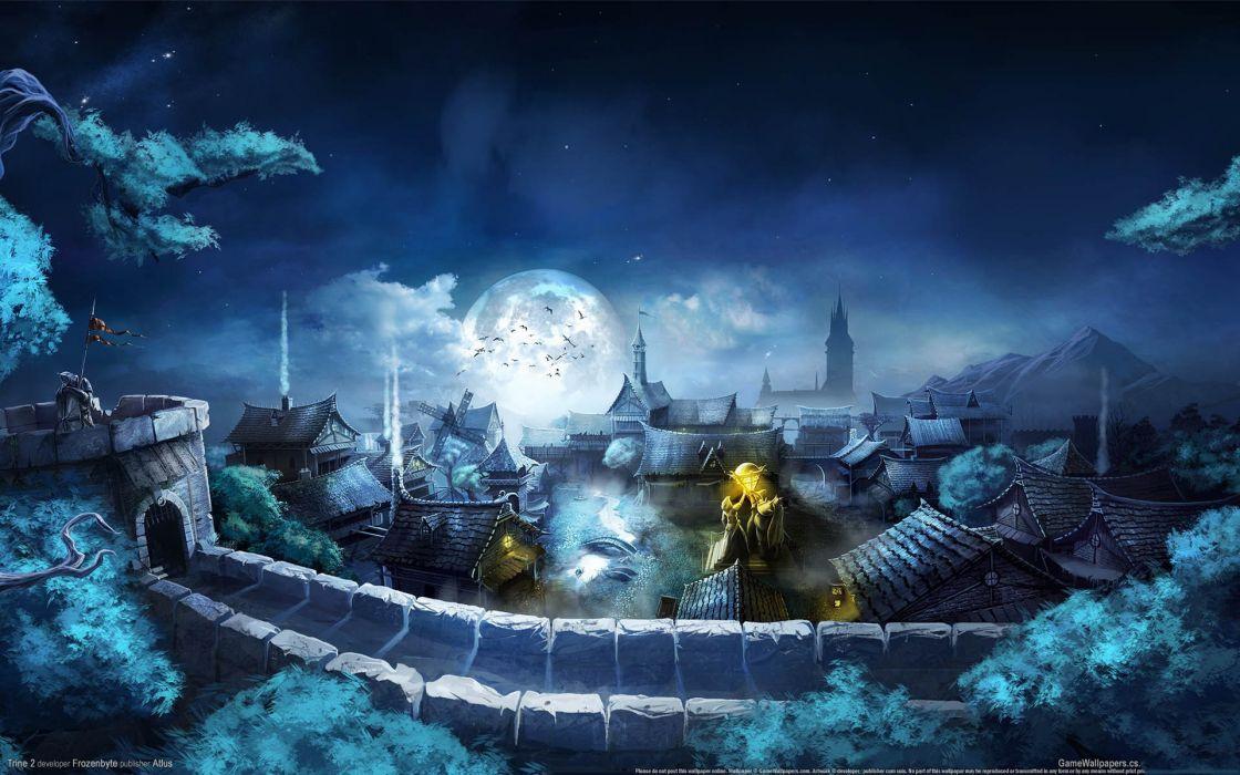 Trine 2 fantasy art cities night mood evening sky wallpaper