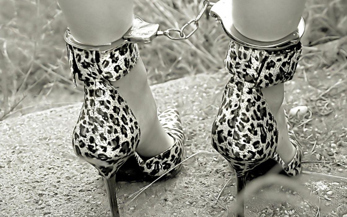 fetish leopard handcuffs legs feet women model sexy babes black white wallpaper