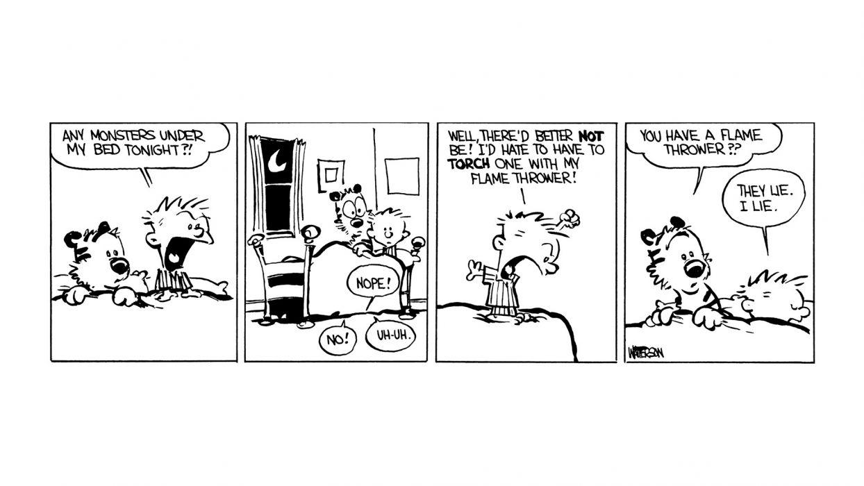 Calvin and Hobbes comics strip tiger humor boy children wallpaper