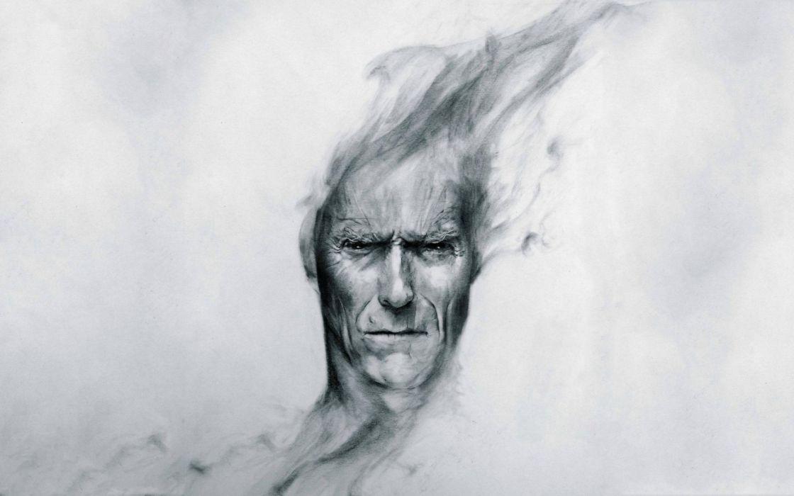 Clint Eastwood actor men male art portrait face psychedlic wallpaper