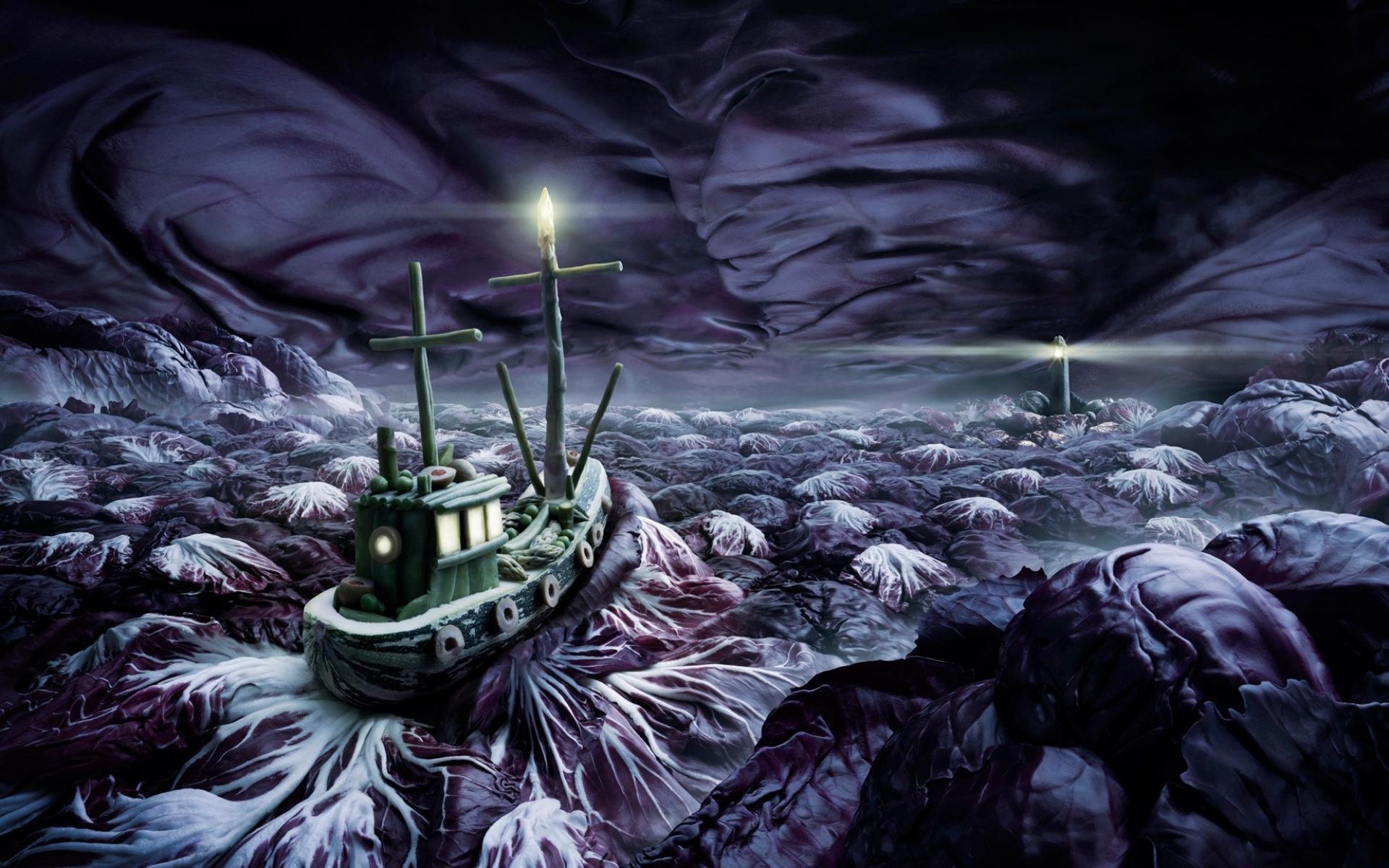 Fantasy Art Painting Ocean Sea Storm Sky Ships Night Moon Wallpaper