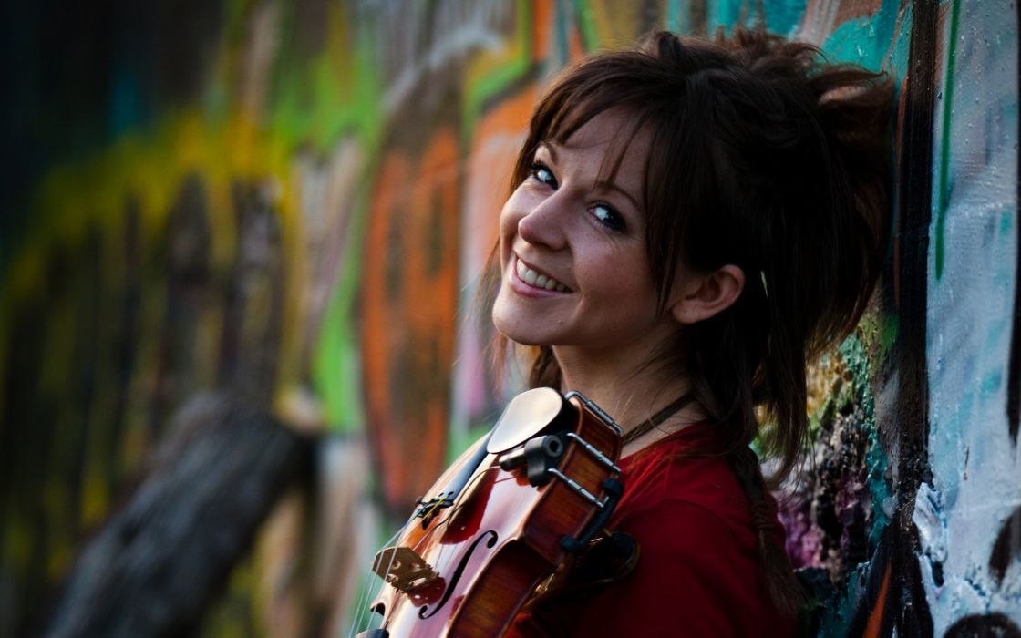 lindsey stirling violin musical instrument women redhead musician pretty mood smile wallpaper