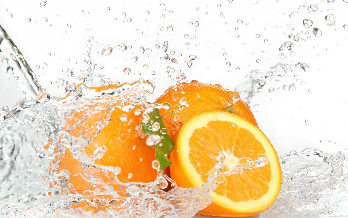 oranges water splash drops wallpaper
