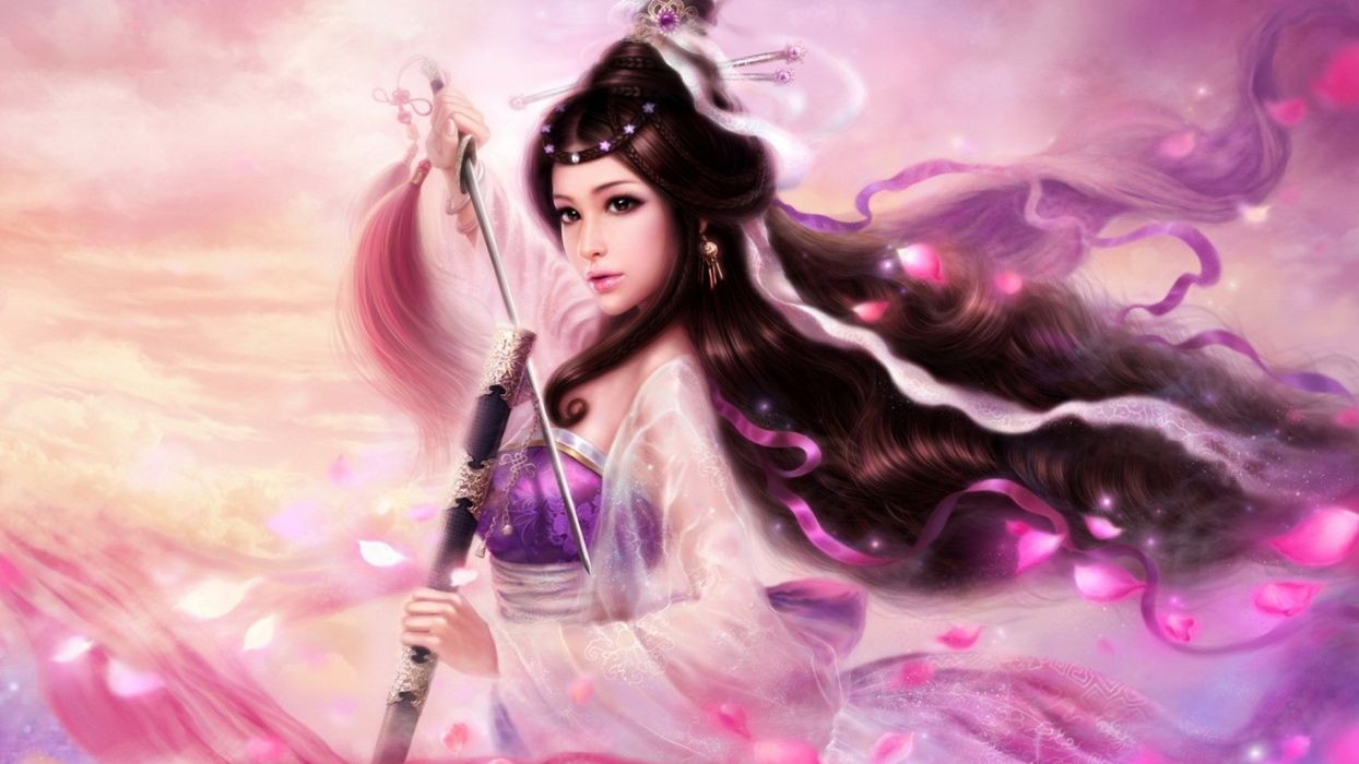 fantasy art cg digital art asian oriental kimono katana weapons sword warriors women brunettes wallpaper