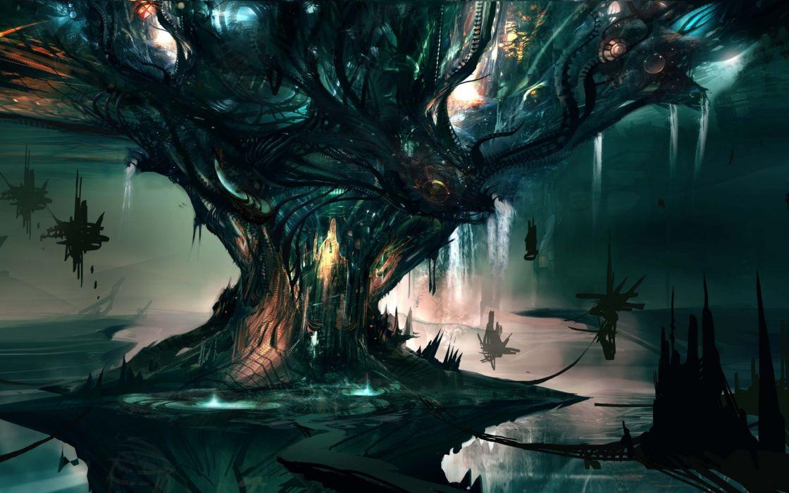 fantasy art sci fi landscapes magic trees house islands dream wallpaper
