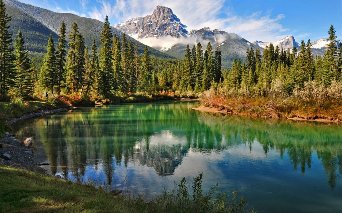 landscapes mountains trees forest shore sky clouds wallpaper