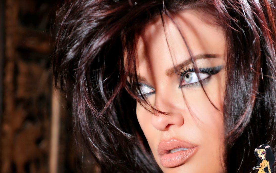 Dana Hamm women model face eyes lips brunettes sexy babes adult glamor wallpaper