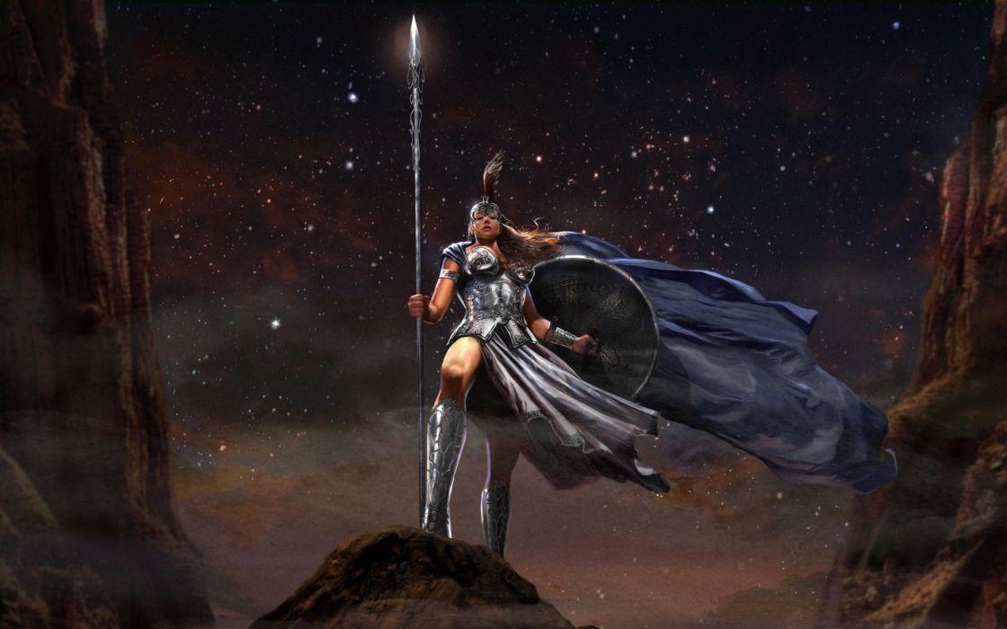 fantasy art warroir weapons spear armor knight women sexy babes stars wallpaper